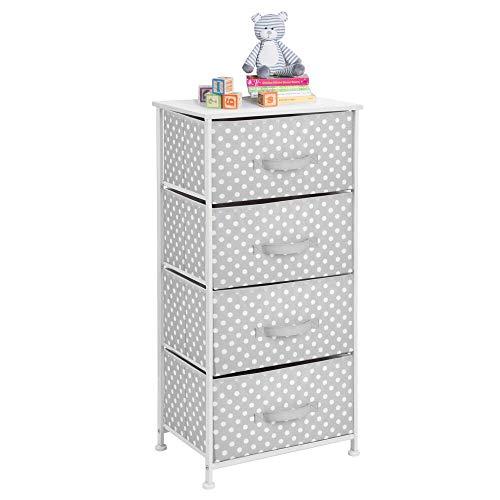 mDesign Kommode aus Stoff mit 4 Schubladen - praktisches Aufbewahrungsregal für Kinderzimmer, Schlafzimmer etc. - hübsche Schubladenkommode - grau/weiß
