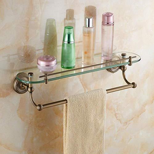 BXU-BG Toallero creativo retro de latón montado en la pared estante de vidrio estante de cosméticos de baño Hardware colgante