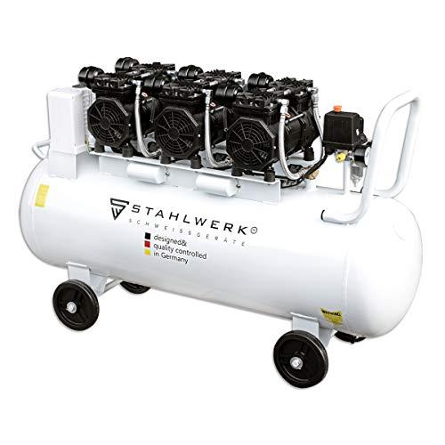 STAHLWERK Druckluft Kompressor ST 1010 pro Flüsterkompressor mit 100 L Kessel, 10 Bar, verschleißfreier Brushless Motor, ölfrei, leise und wartungsarm, 7 Jahre Garantie
