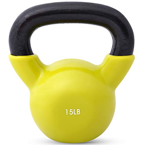 Kettlebell Weights Vinyl Coated Iron by Day 1 Fitness- 15 Pounds - Coated For Floor and Equipment Protection, Noise Reduction - Free Weights For Ballistic, Core, Weight Training