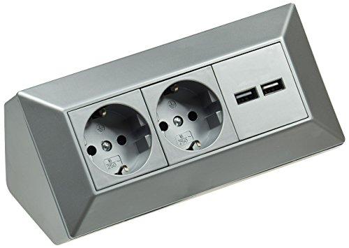 Steckdosenblock mit 2x USB Ecksteckdose I 230V/16A 45° Aufbau- & Eckmontage für Arbeitsplatte Büro Küche Werkstatt Silber Grau