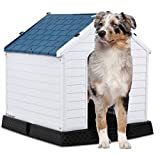 442 Trade Culver Pet Waterproof Plastic Dog Kennel with Air Vents and Elevated Floor for Indoor Outdoor Use Pet Dog House Winter House XLarge 38 inc (Blue)