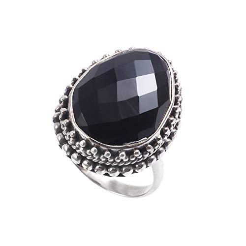 Anillo de piedras preciosas de ónix negro natural   Anillo de plata de ley 925   Anillo de regalo para mujer   Anillo de piedras preciosas  Tamaño del anillo 7 EE. UU.