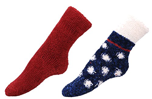 Burklett Fuzzy Socks Adult Indoors Anti-Skid Winter Slipper Socks - 2,4,6 Pack