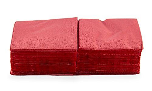 Saten ser22206772Coktail, tovagliolo 20x 20, 2strati, piegati a 1/4, 100Tovaglioli, Lisa con bordo, rosso
