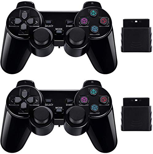 PS2 Wireless Controller 2.4G, Double Shock Dual Vibration Twin Shock Gamepad for Sony Playstation 2,...