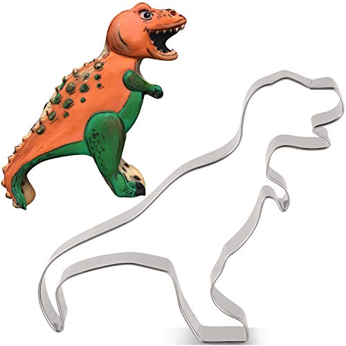 LILIAO Dinosaur T-rex Cookie Cutter for Kids Birthday Party - 45 x 39 inches - Dino Biscuit and Fondant Cutters - Stainless Steel