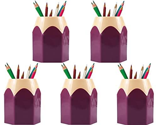 Been 5 soportes para bolígrafos infantiles, material de oficina para estudiantes, organizador de escritorio, multifuncional, bonito soporte para bolígrafos, color morado