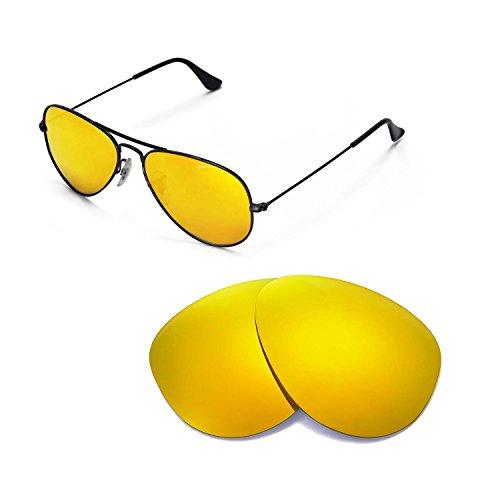 Walleva Ersatzgläser für Ray-Ban RB3025 Aviator Large Metal 55mm Sonnenbrille - Mehrfache Optionen (24K Gold Mirror Zieht - Polarisierte)