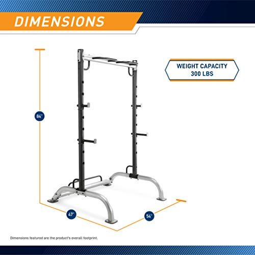 Marcy Cage Squat Rack Pull Up and Push Up Station with Olympic Barbell Catches MWB-70500