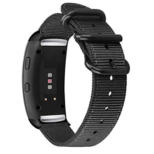 WATORY Armband kompatibel für Gear Fit2 Pro / Fit2 Premium Nylon Ballistic NATO gewebt Uhrenarmband Ersatzband mit Verstellbarem Verschluss für Samsung Gear Fit 2 SM-R360/Fit 2 Pro SM-R365, Schwarz