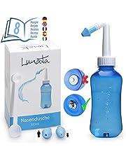 Lunata (Upgrade 2021) Ducha Nasal para Niños y Adultos + Cuchara dosificadora + 2 Puntas + Recetas para irrigación nasal, ducha nariz, limpieza lavado nasal