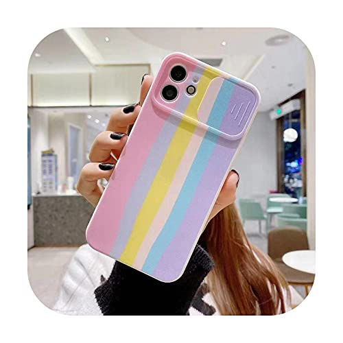 Marco de protección de color Shell para iPhone 11 12 X Pro Max caso 8 7 Plus XR XS delgada suave arco iris contraporta-caihong rosa-Para iphoneXR