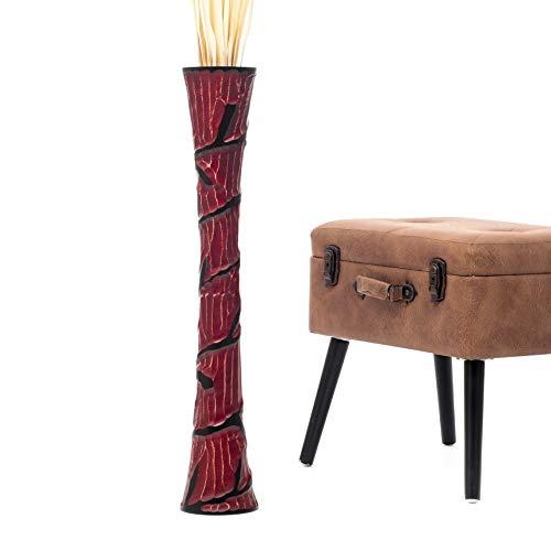 Leewadee Jarrón De Suelo Grande para Ramas Secas Decorativas Florero Alto De Piso Decoración Casa 75 cm, Madera de Mango, Rojo