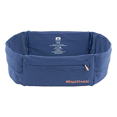 Nathan Running Belt – The Zipster Lite – Waist Pack with 2 Zippers. Bounce Free Pouch/Lightweight/Runners Fanny Pack. Fits All iPhones, Android, Samsung. for Men and Women. (Navy, M)