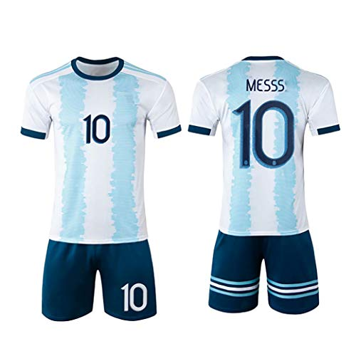 MJAD Saison 2019-20 Argentinien Heimtrikot Fußballtrikot Nr. 10 Kinder Erwachsene Modelle akzeptieren Teamanpassung-White10-16