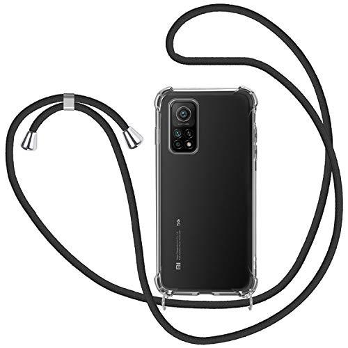 SAMCASE Funda con Cuerda para Xiaomi Mi 10T 5G/ 10T Pro 5G, Carcasa Transparente TPU Suave Silicona Case con Correa Colgante Ajustable Collar Correa de Cuello Cadena Cordón - Negro