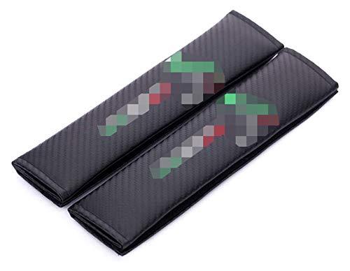 HLHS Coperture per Cintura di Seduta Regolabili, Ricamo Pinze per Cintura a Spalla con Spalla di Protezione Auto per Fer-Rari Lambor-Ghini al-Fa Ro-Meo Fiat Car Styling 2pcs 0109