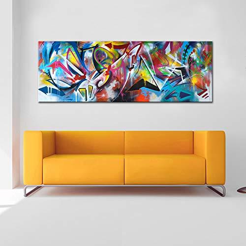 Peinte à la Main Coloré Abstraite La Géométrie Toile Tableaux Grande Taille D'art Peintures à l'huile Salon Domicile Murs Décoration Peinture,Noframe,60x180cm