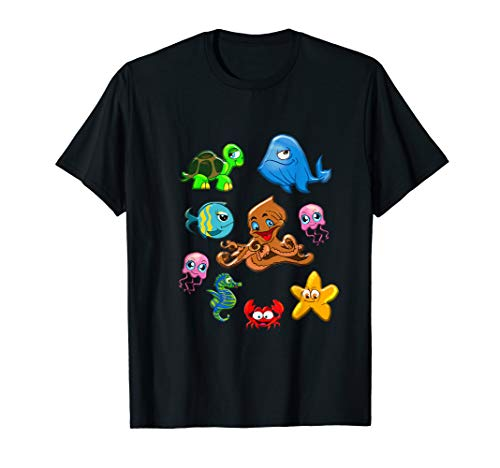 Sea Animals Whale Octopus Starfish Crab T-Shirt for Toddlers
