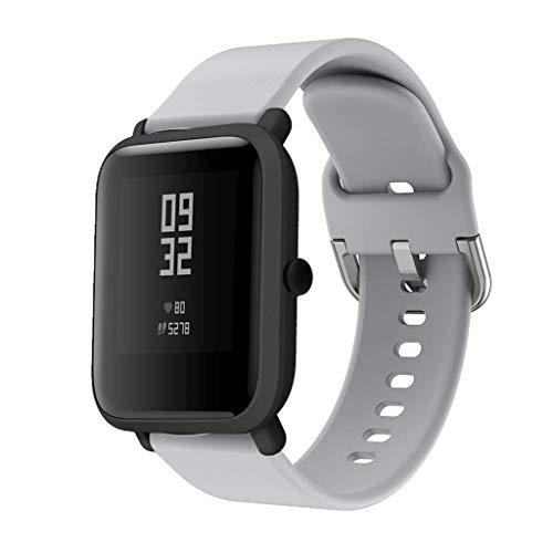 CNBOY Correas de Reloj de Repuesto de Silicona para Xiaomi Huami Amazfit Bip Youth Watch (Gris, 20mm)