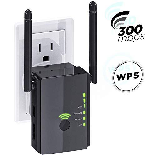 [Upgraded 2020] WiFi Extender 300 Mbps with WPS Internet Signal Booster Amplifier - Wireless Repeater up to 300 Mbps -...