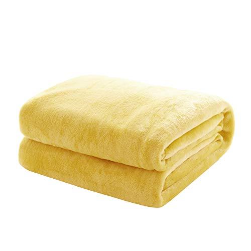 Mixibaby Kuscheldecke Flauschige extra weich & warm Wohndecke Flanell Fleecedecke, Falten beständig/Anti-verfärben als Sofadecke oder Bettüberwurf, Größe:150 cm x 200 cm, Farbe:Vanille Gelb