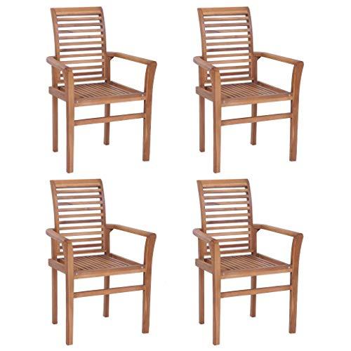 Festnight Esstischstühle 4 STK. | Stapelbar Esszimmer Stuhl 4er Set | Holz Küchenstuhl | Garten Stapelstühle | Rustikal Gartenstühle | Massivholz Teak 62 x 56,5 x 94 cm
