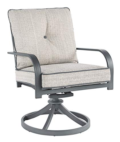 Signature Design by Ashley - Donnalee Bay Outdoor Swivel Lounge Chair - Set of 2 - Rust Free Aluminum - Dark Gray