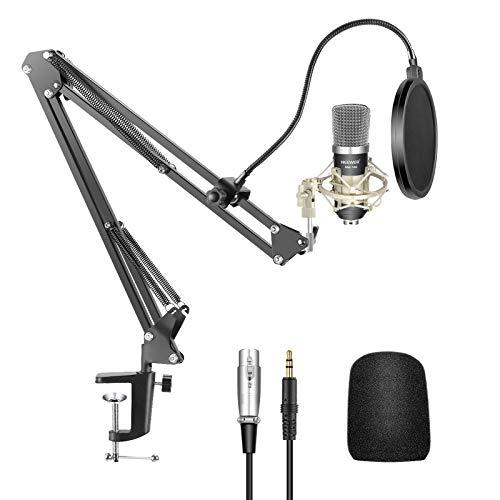 Neewer Micrófono Condensador Kit NW-700 Mic(Negro),NW-35 Soporte Brazo Boom Tijera Suspensión con Abrazadera Montaje,Montura Choque(Plata),Filtro Pop para Estudio Radiodifusión