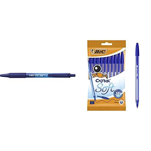 BIC Soft Feel - Caja de 12 unidades, bolígrafos retráctiles Grip punta media (1,0 mm), color azul + Bolígrafos Punta Media (1,2 mm) con escritrua suave - Azul