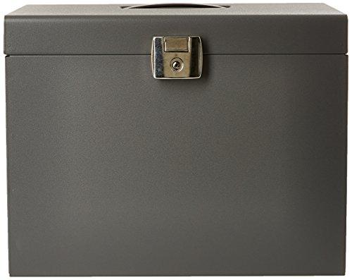 Esselte 11896 - Maleta metálica de archivo con 5 carpetas colgantes A4, color gris (antracita) ⭐