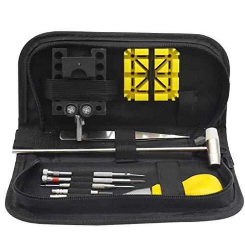 SEESEE.U Uhrenreparaturset in Tragetasche, Werkzeug zum Öffnen von Uhrengehäusen, Werkzeugsatz zum Austauschen der Batterie, Verbindungsstift für Uhren zum Reparieren von Uhren (12-teilig)
