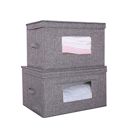 HOMEsn Fabric Stackable Closet Storage Organizer Box with Clear Window , Bedroom Storage Bag with Lid for Bedroom, Hallway, Entryway, Closets, 2 Pack (Color : Gray)