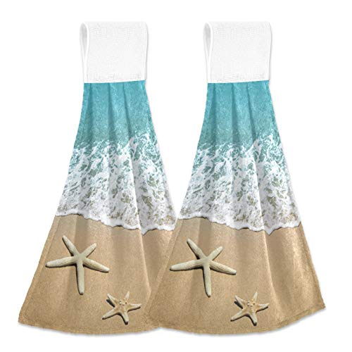 Alaza Starfish on Beach Sand Hanging Kitchen Hand Towels with Loop Super Absorbent Hand Towels Machine Washable 2 Piece Sets