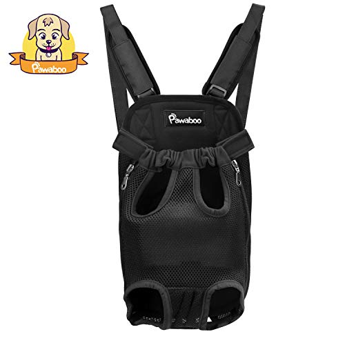 PAWABOO Pet Carrier Backpack, Adjustable Pet Front Cat Dog Carrier Backpack Travel Bag, Legs Out, Easy-Fit for Traveling Hiking Camping, Medium Size, Black