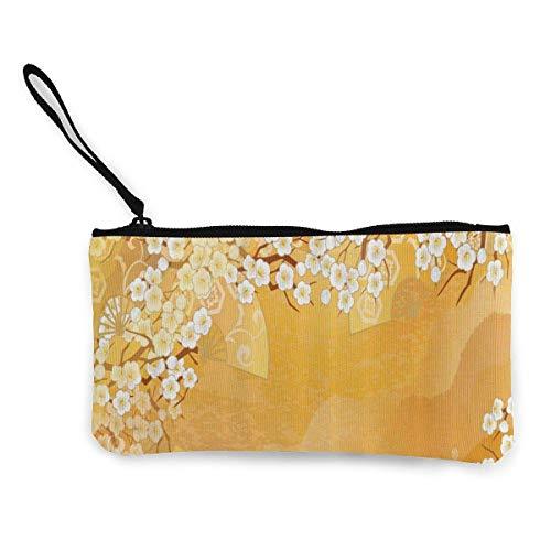 Monedero de lona japonesa flor de cerezo Sakura árbol monedero cambio efectivo bolsa pequeño monedero carterasCard clave cartera