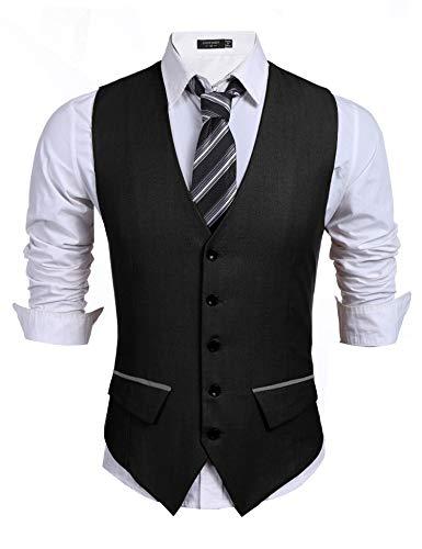 COOFANDY Men's Business Suit Vest Slim Fit Dress Vest Wedding Waistcoat (Large, Black)