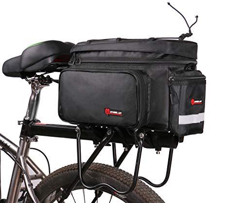 Fahrrad Gepäckträgertasche mit Kamera Tasche Wasserdicht Fahrradtasche hinten Rahmentasche Groß Radtasche mit Regenschutz MTB Rennrad Umhängetaschen Satteltaschen - Schwarz