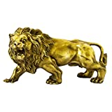 African Wild Lion Figurine Gold Lion Statue for Home Decor Desk Animals Ornament Handmade Brass Art Collectible (Gold)