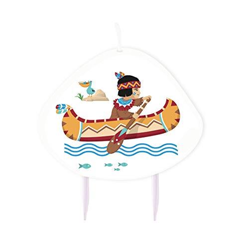 Amakando 1 Bougie pour gâteau Petit Sioux fête thème Indiens - 9 cm - Bougie d'anniversaire Far West décoration de gâteau - Le Coup de cœur pour Anniversaire d'enfants & soirée à thème