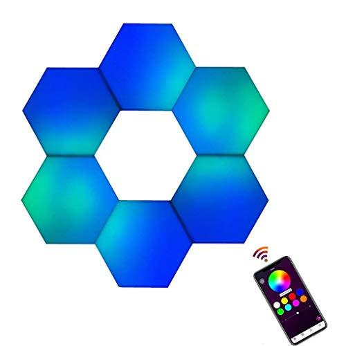 Lámpara de Pared de Empalme Hexagonal APP Control Bluetooth Luz LED Creativa Inteligente con Alimentación USB, Modular de Bricolaje Luz Nocturna Adecuada para Sala de Estar, Oficina, Librería, Etc.