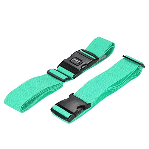 XuCesfs Long Cross Luggage Strap Separatable Suitcase Belts Travel Tags Accessories with 3 Dial Combo Lock Bag Bungee Strap (Color : Green)