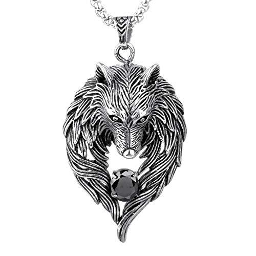 Hip Hop Rock Wolf Tótem Diamante Cabeza de Lobo Colgante de Acero Titanio para Hombre