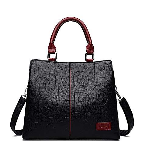 Sakilor Señoras de moda para mujer Bolsos de gran capacidad de cuero Pu Bolso de mano Bolso de mensajero Bolso de hombro-rojo