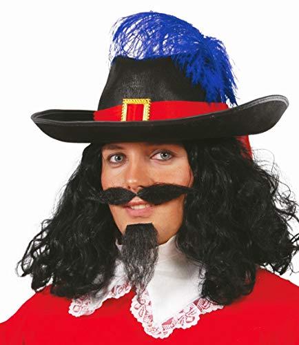 Guirca 437072 Chapeau de Mousquetaire Porthos Adulte, Noir, Taille Unique