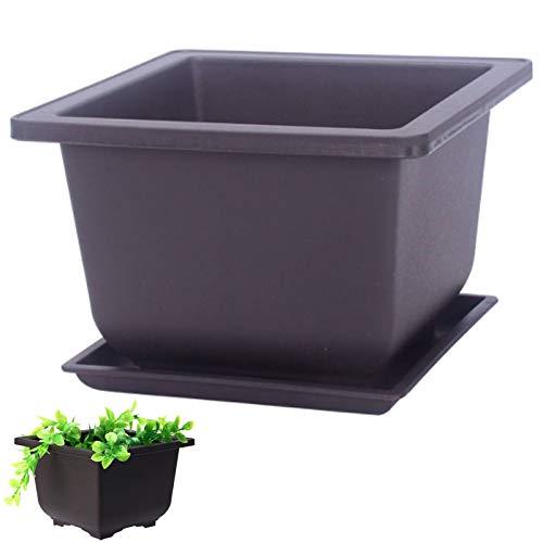 Rectangle Bonsaï Pot De Fleur en Plastique Antique Pot De Fleur Imitation Plastique Pot De Fleurs Imitation Plastique Bol Pots De Pépinière pour La Décoration Intérieure De Balcon De Jardin (1 Pièce)