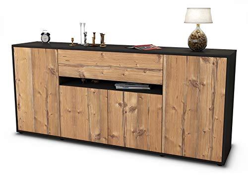 Stil.Zeit Sideboard Flavia/Korpus anthrazit matt/Front Holz-Design Pinie (180x79x35cm) Push-to-Open Technik & Leichtlaufschienen