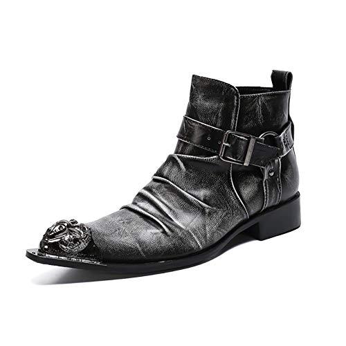 Story of life Automne Et Hiver Pointu Homme Bottines Affaires Montantes Chaussures En Cuir Tendance Chevalier Peau De Vache Mules D'homme,Noir,41