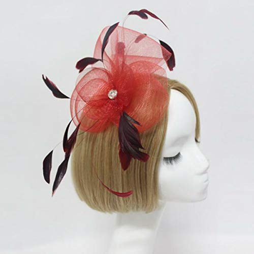 MOPOLIS Feather Wedding Ladies Day Fancy Ascot Race Fascinator on Clip Hair Accessories | Color - Red